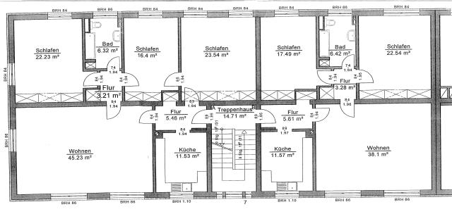 Das rauschhaus(2) bespielte 6 Wohnungen dieses Grundrisses in der Gießener Dulles-Siedlung.